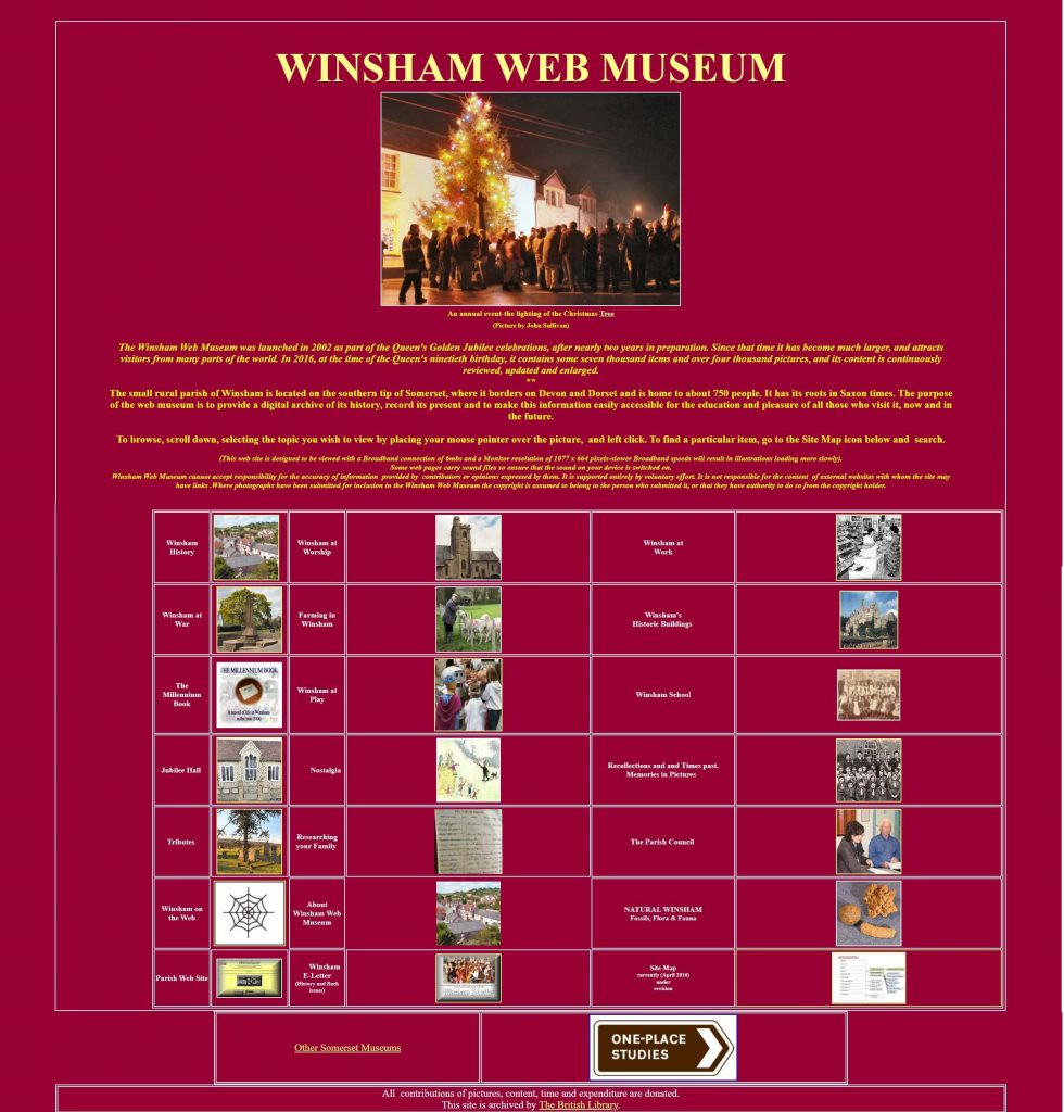 Old Winsham Web Museum homepage design