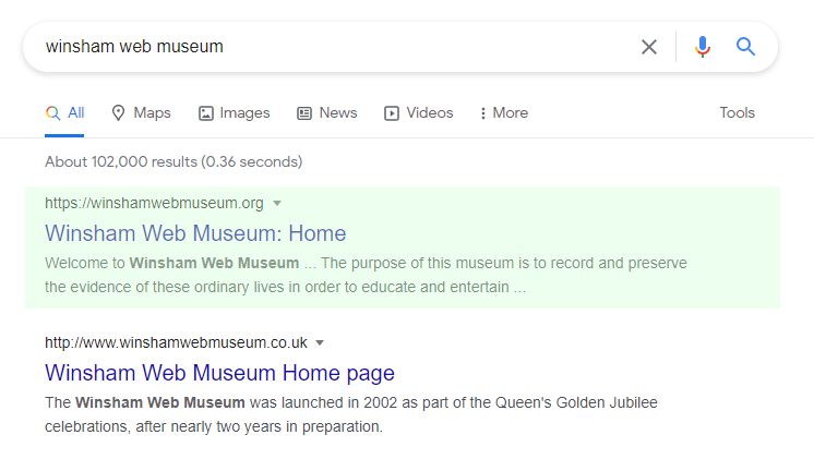 Winsham Web Museum SEO